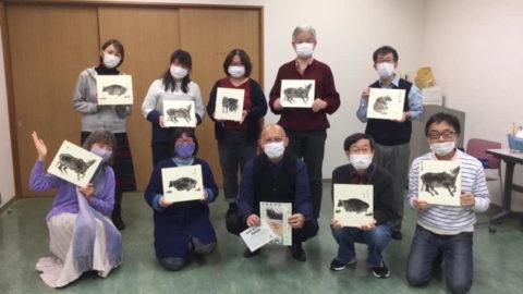 長谷川先生の鳥獣戯画模写体験と、干支の丑を琳派で描く大和絵講座です。